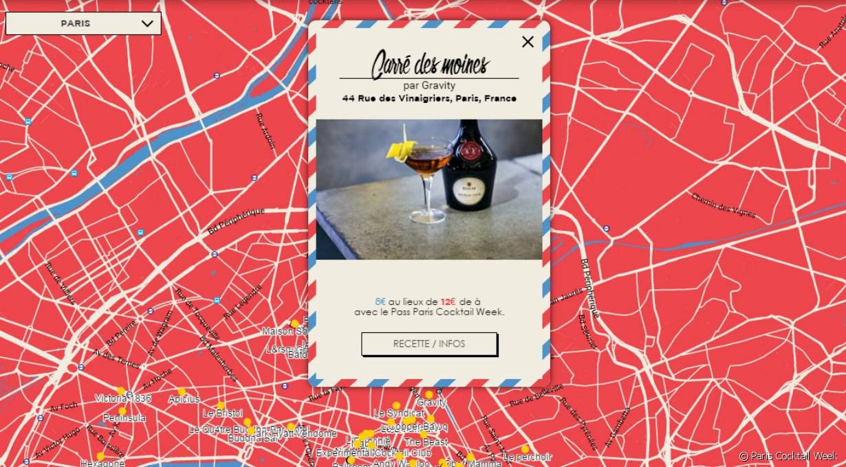 La carte de la Paris Cocktail Week.