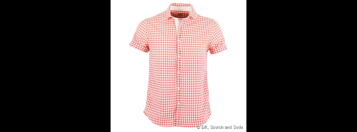 Chemise vichy à manches courtes,  Scotch and Soda, 70 €
